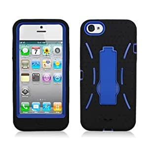 Bloutina Aimo Wireless IPH5PCMX002S Guerilla Armor Hybrid Case with Kickstand for iPhone 5 - Retail Packaging - Black/Blue...