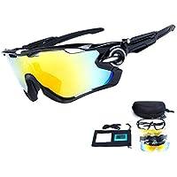 TOPTETN Gafas de sol deportivas polarizadas Protección UV400 Gafas de ciclismo con 5 lentes intercambiables para ciclismo, béisbol, pesca, esquí, funcionamiento