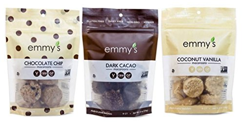(Emmy's Organics, Coconut Cookies - Variety Pack (Dark Cacao, Vanilla Bean, Chocolate Chip), 6 oz (Pack of 3))
