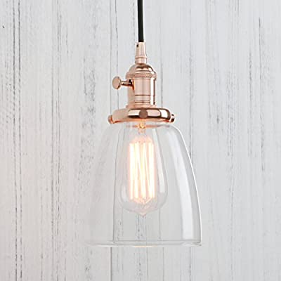 Permo Vintage Incandescent One Light Pendant Mini Cone Clear Glass Ceiling Hanging Lamp Fixture 1-light with Nostalgic Edison Filament Bulb