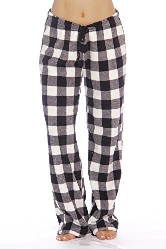 Just Love Women's Plush Pajama Pants, Small, Buffalo Plaid White