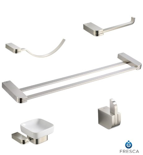 Fresca Solido 5-Piece Bathroom Accessory Set with Double Towel Bar - Brushed Nickel by Fresca