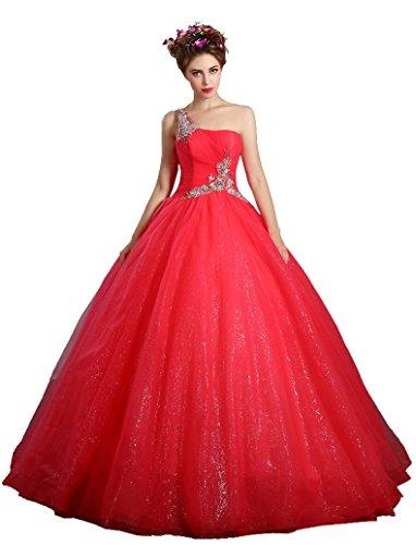 Schulter Wassermelonenrot Ohne Tunnelzug Hochzeitskleider Pailletten Arme eine Kugel Emily Beauty Awz7tt