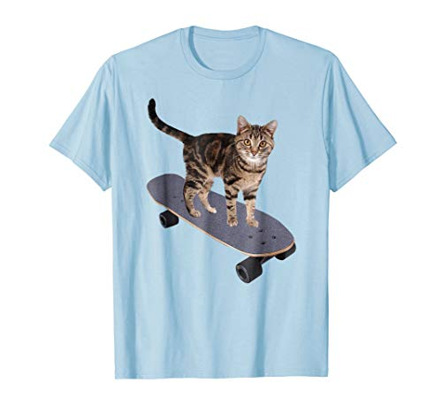 Mens Animals on Skateboards Skateboard Cat T-shirt Medium Baby Blue