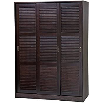 100% Solid Wood 3 Sliding Door Wardrobe/Armoire/Closet/Mudroom Storage