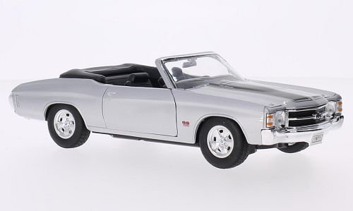 Chevrolet Chevelle SS 454 Convertible, silver/black, 1971, Model Car, Ready-made, Welly 1:24 ()