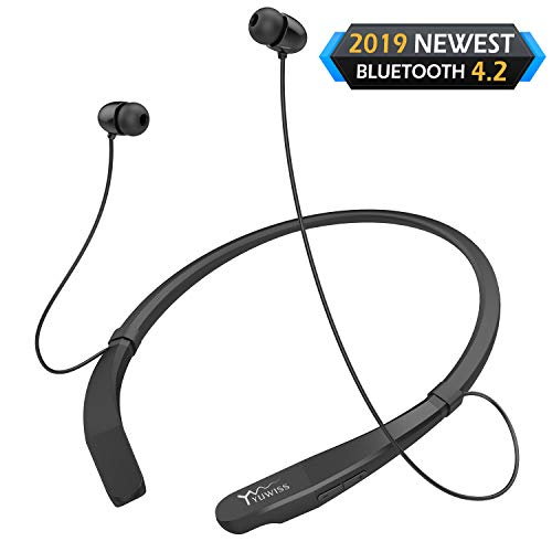 Yuwiss Bluetooth Headphones Neckband V4.2 Lightweight Wireless Headset Call Vibrate Alert Sport Earbuds w/Mic Earphones 10-Hour Playtime for Gym Running Compatible with iPhone Samsung Android (Black)