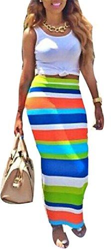 Eleganlife Women's 2 Pieces Tank Tops Rainbow Color Clubwear Party Maxi Skirt Set
