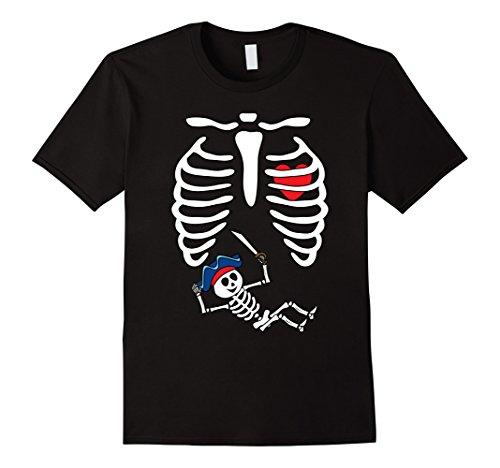 Mens Pirates Baby Skeleton Halloween Shirt Maternity X-Ray Rib 2XL Black (Maternity Pirate Costume)