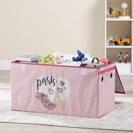 Make Cleanup of Toys Fun and Easy for Kids with Lightweight,Durable and Adorable Mainstays Kids Collapsible Soft Storage Toy Trunk,Paris Gold