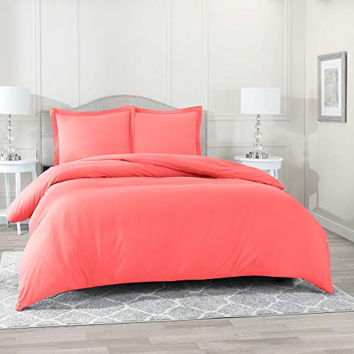 Nestl Bedding Duvet Cover 3 Piece Set - Ultra Soft Double Brushed Microfiber Hotel Collection - Comforter Cover with Button Closure and 2 Pillow Shams, Coral Pink - King 90