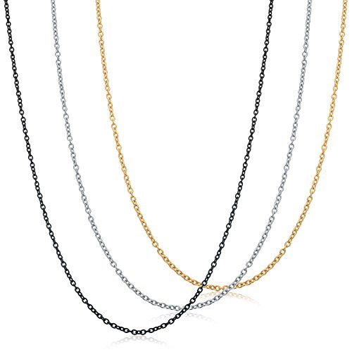FIBO STEE 1.5MM Stainless Steel Womens Necklace for Girls Cable Chain Necklace Set,26 (Stainless Steel Cable Necklace)