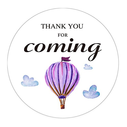 MAGJUCHE Hot Air Balloon Thank You Stickers, Purple Wedding, Birthday, Baby Shower Party Favors Sticker Labels, 2 Inch, 40-Pack -