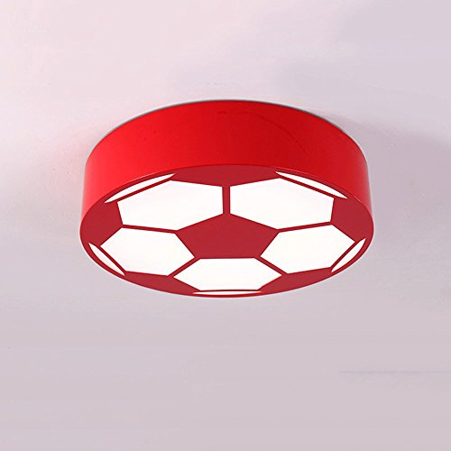 Cartoon LED Soccer Children's Room Chandelier Creative Bedroom Lights Early Education Round Warm Kindergarten Playground Lighting ( Color : Red ) by JYKJ