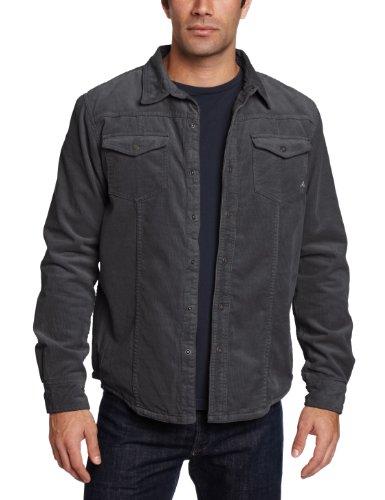 Prana Men's Gomez Long Sleeve Corduroy Shirt, Charcoal, Large