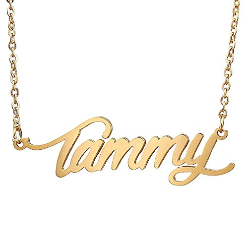 (HUAN XUN Gold Color Plated Name Plated Necklace, Tammy)