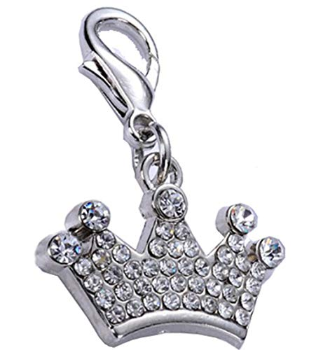 Molyveva Pet Cat Dog Identity Card Crown Pendant Cute More Drilling Diamond Imperial Dog Cat Tags Pet Jewelry Necklace (Pendants Finish Silver Imperial)