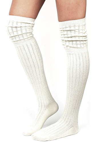 Tan Wool Boots - WOWFOOT Ladies' Knit Over The Knee High Socks Women Girl Slouch Stockings Boots (Ivory(Silver Glitter))