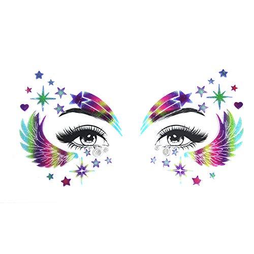 halloween face tattoo Rainbow Glitter Temporary Tattoos face eye Stickers Crystal Mermaid Eyes glitter face tattoo for Festival Party Women