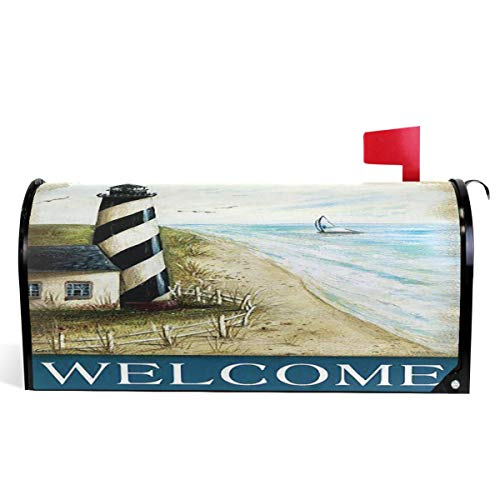 Wamika Welcome Vintage Lighthouse On Beach Small Mini Mailbox Covers Standard Size Summer Beach Sea Farm House Magnetic Mail Cover Letter Post Box 21