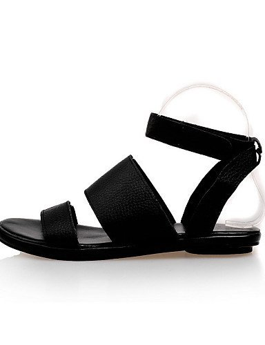 ShangYi Womens Shoes Flat Heel Open Toe Sandals Outdoor / Dress / Casual Black / White White