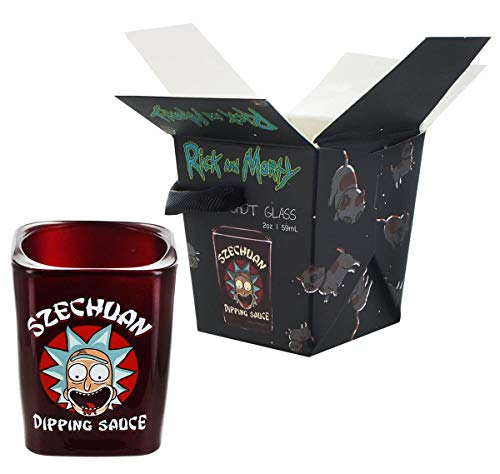 (Rick and Morty Szechuan Dipping Sauce Shot Glass - Novelty Collectible Drinking Glasses - Perfect for Birthdays, Holidays, House Warming)