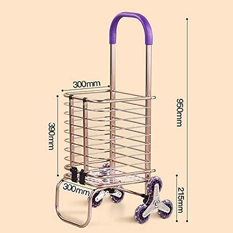 WYJW 8 Ruedas Escaleras para Subir Carro de la Compra Trolley Furgonetas de Aluminio con Ruedas para el hogar Ligeras Plegables (Color: Oro Rosa): Amazon.es: Hogar