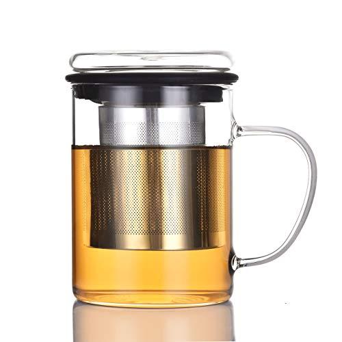 (Tomotime Glass Mug with Loose Tea Infuser, 13.5-Ounce Black)