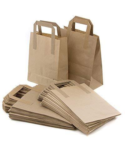 c2c2d83c0 The Paper Bag Company - Bolsas de papel con asas planas, 18 x 23 x 9 cm,  100 unidades, color marrón: Amazon.es: Hogar