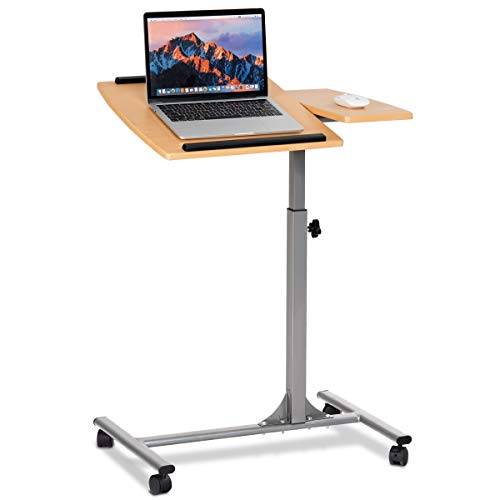 (Tangkula Laptop Desk Overbed Table, Mobile Desk Cart, Angle & Height Adjustable Laptop Stand Cart)