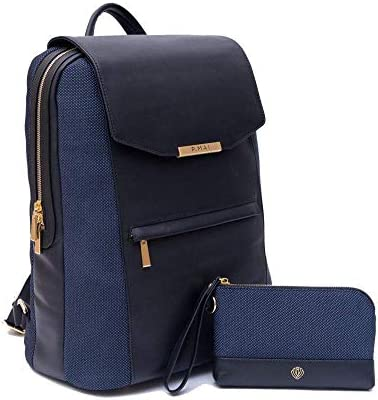 P.MAI Premium Valletta Leather Laptop Backpack for Women with Wristlet I 15-Inch Executive Laptop and Notebook Computer Backpack I Ideal for Business, Travel, Work I Incl. Commuter Purse – Navy Blue