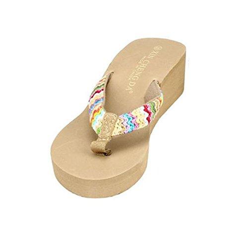 Sandalen Damen LHWY Sommer Plattform Sandalen Flach Elegant Dicker Boden Keile Strand Lässige Flip Flops Frauen Hausschuhe Gewebt Band Khaki