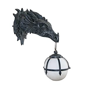 Design Toscano CL2425 Marshgate Castle Dragon Electric Wall Sconce Light Fixture, 17 Inch, Polyresin, Grey Stone…