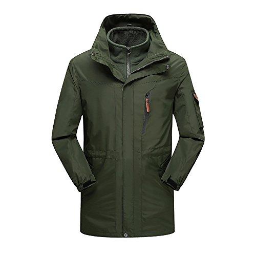 Military vert(m) L DYF Les Hommes Femmes montée Ski Down veste Coat Couleur Solide Couple de Longueur Moyenne.
