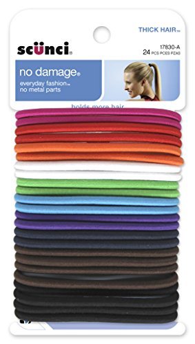 Scunci No Damage Effortless Beauty Thick Hair Elastics, 24-Count
