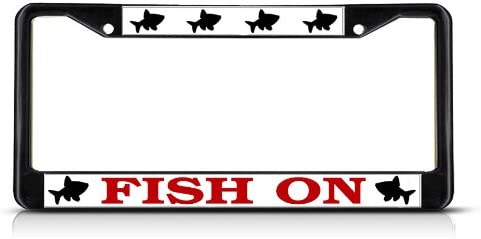 One Frame Black 2 Holes Sign Destination Metal License Plate Frame Solid Insert Fish Fishing On Fishing Car Auto Tag Holder