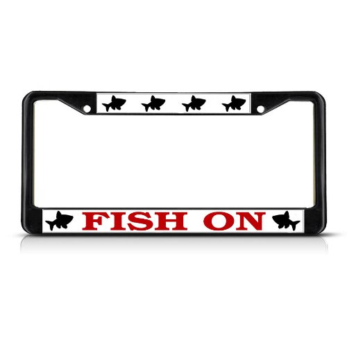 Sign Destination Metal License Plate Frame Solid Insert Fish Fishing On Fishing Car Auto Tag Holder - Black 2 Holes, One Frame ()