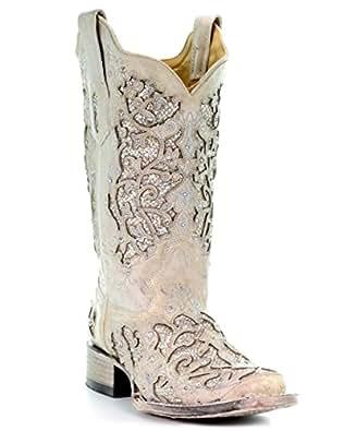 Amazon.com | Corral Boots Women's A3397 White/White