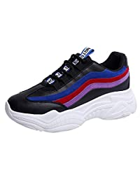 Jesper Women's Color Line Platform Trendy Sneakers Casual Fashion Breathable Running Shoes