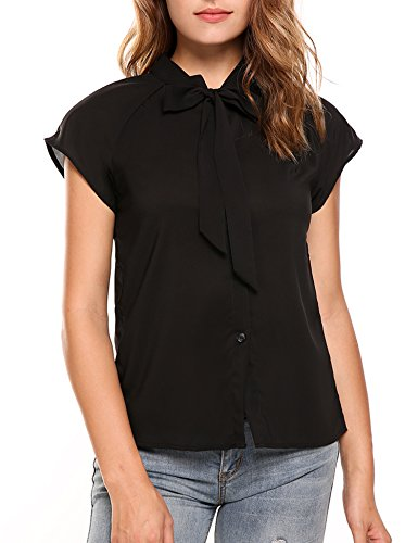 Zeagoo Womens Short Sleeve Bow Tie Neck Chiffon Blouse Tops