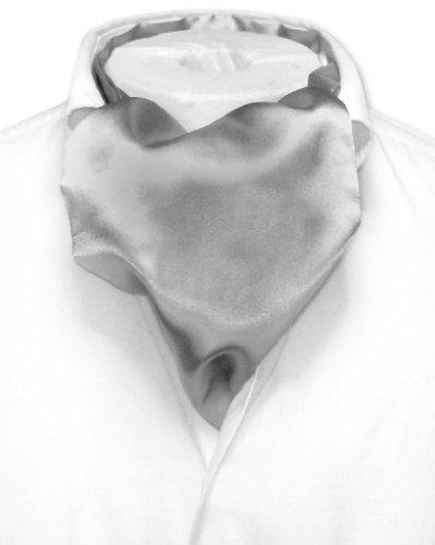 (Biagio ASCOT Solid SILVER GREY Color Cravat Gray Men's Neck Tie)