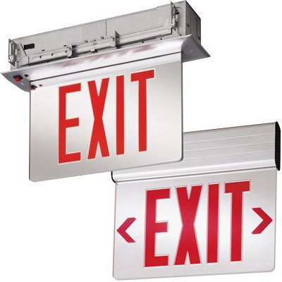 Lithonia Lighting EDGR-1-R-EL-M4 LED Edge-Lit Single Face Emergency Exit Sign White Housing Red On Clear Letter 120/277 Volt