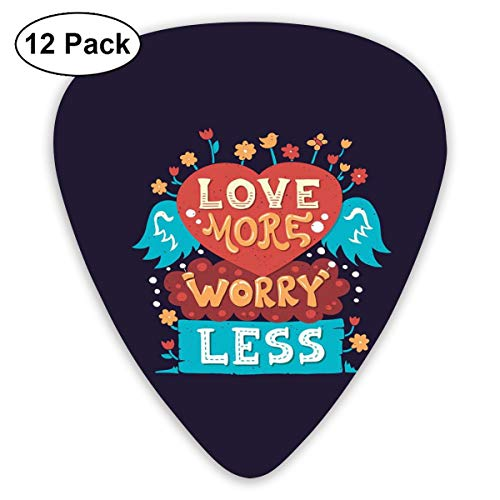 (Celluloid Guitar Picks - 12 Pack,Abstract Art Colorful Designs,Love More Worry Less Heart Shape With Blooming Flowers Cute Bird And Angelic Wings,For Bass Electric & Acoustic Guitars.)