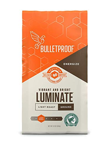 Bulletproof Luminate Ground Coffee, Premium Light Roast Gourmet Organic Beans, Rainforest Alliance Certified, Perfect for Keto Diet, Upgraded Clean Coffee (12 Ounces)