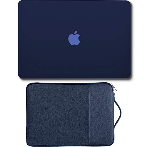GMYLE MacBook Air 13 Inch Case A1466 / A1369 Older Version 2010-2017 2 in 1 Bundle, Hard Plastic Shell Cover and 13-13.3 Inch Carrying Sleeve Bag with Handle - Navy Blue Set