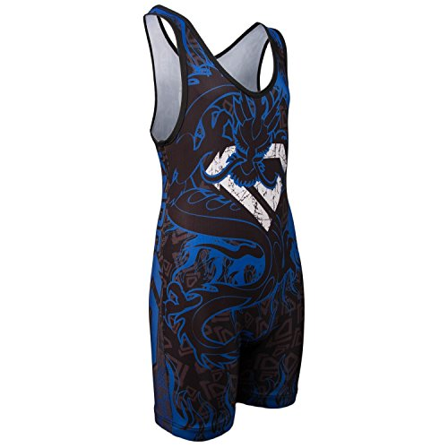[KO Sports Gear's Blue Dragon Wrestling Singlet (Adult S : 90 - 115 lbs )] (Dance Team Costumes Competition)