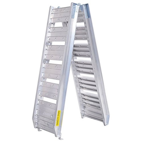 6Ft Aluminum Plate Top Lawnmower ATV Folding Ladder Loading Ramp Arched UTV Truck Trailer 440 Lbs (Folding Atv Stand)