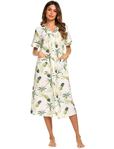 Ekouaer House Duster Women's Snap Front Sleepwear Short Sleeve Nightgown Pajamas Dress (Pattern2,XL)