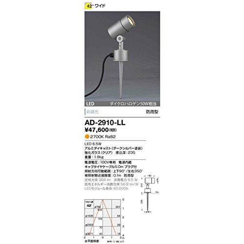 山田照明 LED一体型スポットライト 防雨型 スパイク式 非調光 ダイクロハロゲン50W相当 電球色 配光角度42° キャブタイヤケーブル5.0mプラグ付 AD-2910-LL B01N3Q7DQF 21519