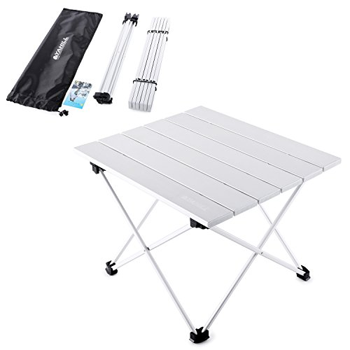 YAHILL Aluminum Folding Collapsible Camping Table Roll up 3 Size with Carrying Bag for Indoor and Outdoor Picnic, BBQ, Beach, Hiking, Travel, Fishing Silver- S
